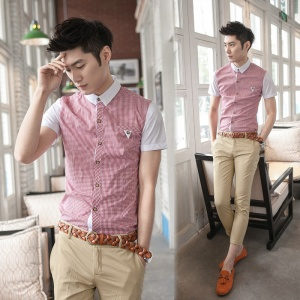 Summer-shirt-Short-sleeve-Plaid-Slim-Cotton-Korean-style-Casual-Men-s-Free-shipping-1-Piece